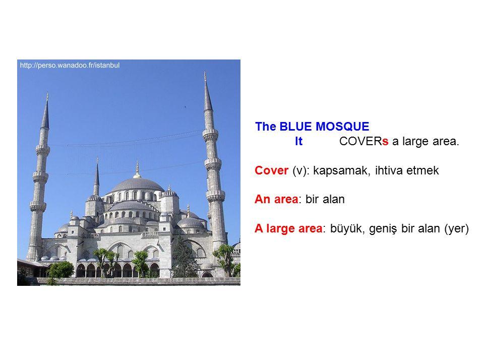 The BLUE MOSQUE It COVERs a large area. Cover (v): kapsamak, ihtiva etmek An area: bir alan A large area: büyük, geniş bir alan (yer)