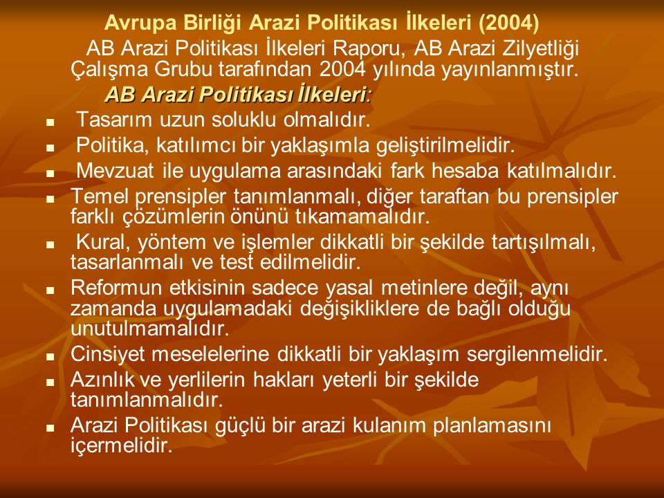Avrupa Birliği Arazi Politikası İlkeleri (2004) AB Arazi Politikası İlkeleri Raporu, AB Arazi Zilyetliği Çalışma Grubu tarafından 2004 yılında yayınla