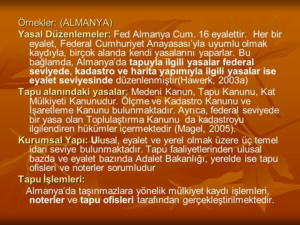Örnekler: (ALMANYA) Yasal Düzenlemeler: Yasal Düzenlemeler: Fed Almanya Cum. 16 eyalettir. Her bir eyalet, Federal Cumhuriyet Anayasası'yla uyumlu olm