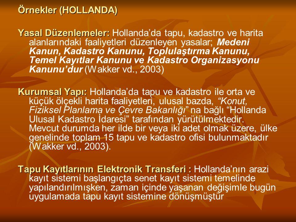 Örnekler (HOLLANDA) Yasal Düzenlemeler: Yasal Düzenlemeler: Hollanda'da tapu, kadastro ve harita alanlarındaki faaliyetleri düzenleyen yasalar; Medeni