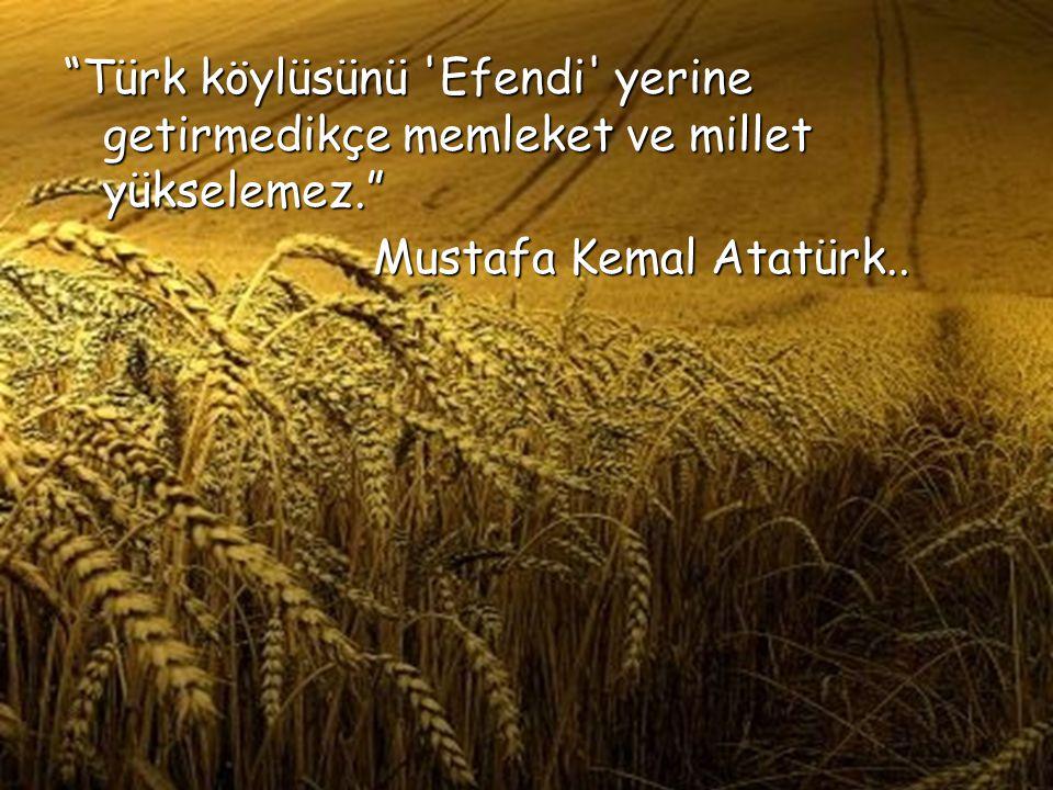 """""""Türk köylüsünü 'Efendi' yerine getirmedikçe memleket ve millet yükselemez."""" Mustafa Kemal Atatürk.."""