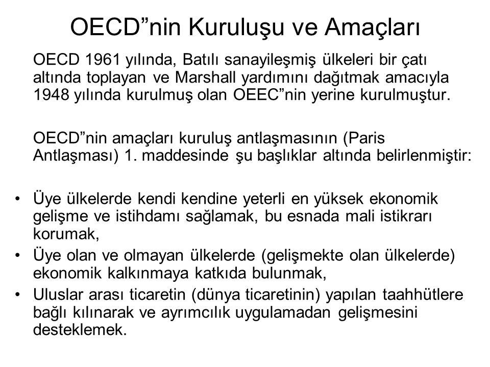 OECD nin Kuruluşu ve Amaçları OECD 1961 yılında, Batılı sanayileşmiş ülkeleri bir çatı altında toplayan ve Marshall yardımını dağıtmak amacıyla 1948 yılında kurulmuş olan OEEC nin yerine kurulmuştur.