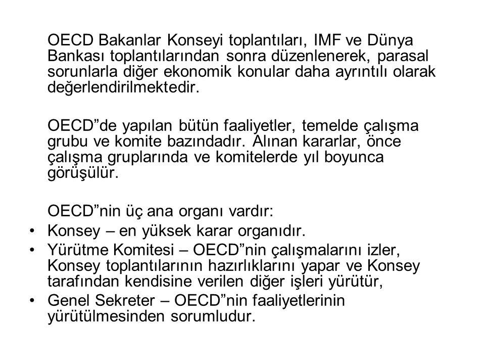OECD Bakanlar Konseyi toplantıları, IMF ve Dünya Bankası toplantılarından sonra düzenlenerek, parasal sorunlarla diğer ekonomik konular daha ayrıntılı