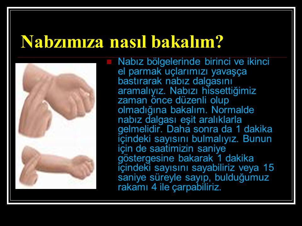 Nabzımıza nasıl bakalım? Nabız bölgelerinde birinci ve ikinci el parmak uçlarımızı yavaşça bastırarak nabız dalgasını aramalıyız. Nabızı hissettiğimiz