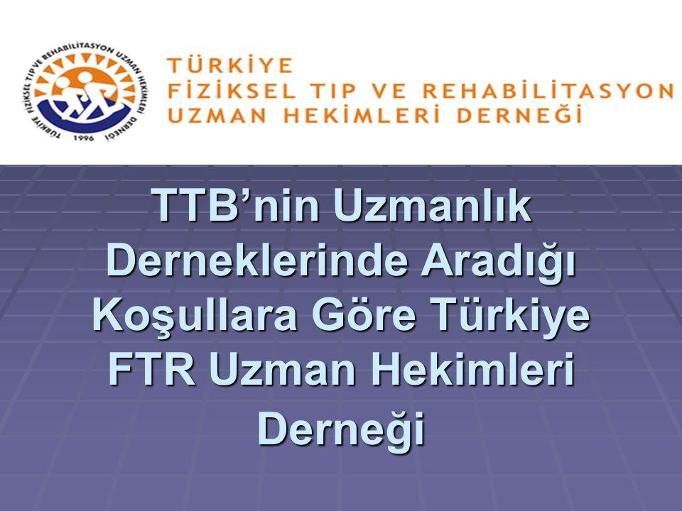 TTB'nin Uzmanlık Derneklerinde Aradığı Koşullara Göre Türkiye FTR Uzman Hekimleri Derneği