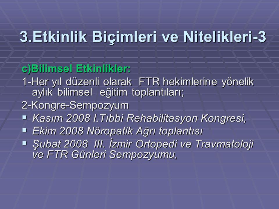 3.Etkinlik Biçimleri ve Nitelikleri-3 c)Bilimsel Etkinlikler: 1-Her yıl düzenli olarak FTR hekimlerine yönelik aylık bilimsel eğitim toplantıları; 2-K