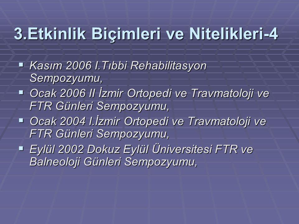 3.Etkinlik Biçimleri ve Nitelikleri-4  Kasım 2006 I.Tıbbi Rehabilitasyon Sempozyumu,  Ocak 2006 II İzmir Ortopedi ve Travmatoloji ve FTR Günleri Sem