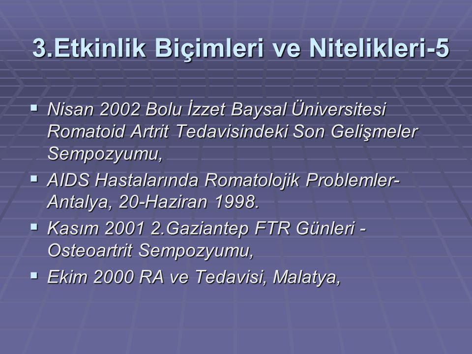 3.Etkinlik Biçimleri ve Nitelikleri-5  Nisan 2002 Bolu İzzet Baysal Üniversitesi Romatoid Artrit Tedavisindeki Son Gelişmeler Sempozyumu,  AIDS Hastalarında Romatolojik Problemler- Antalya, 20-Haziran 1998.