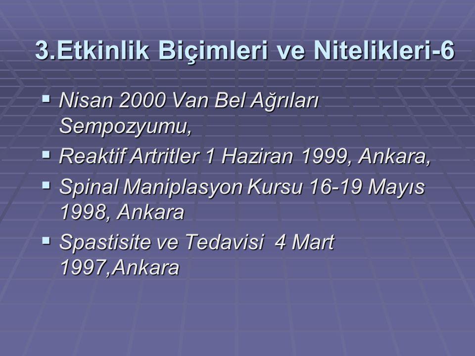 3.Etkinlik Biçimleri ve Nitelikleri-6  Nisan 2000 Van Bel Ağrıları Sempozyumu,  Reaktif Artritler 1 Haziran 1999, Ankara,  Spinal Maniplasyon Kursu 16-19 Mayıs 1998, Ankara  Spastisite ve Tedavisi 4 Mart 1997,Ankara