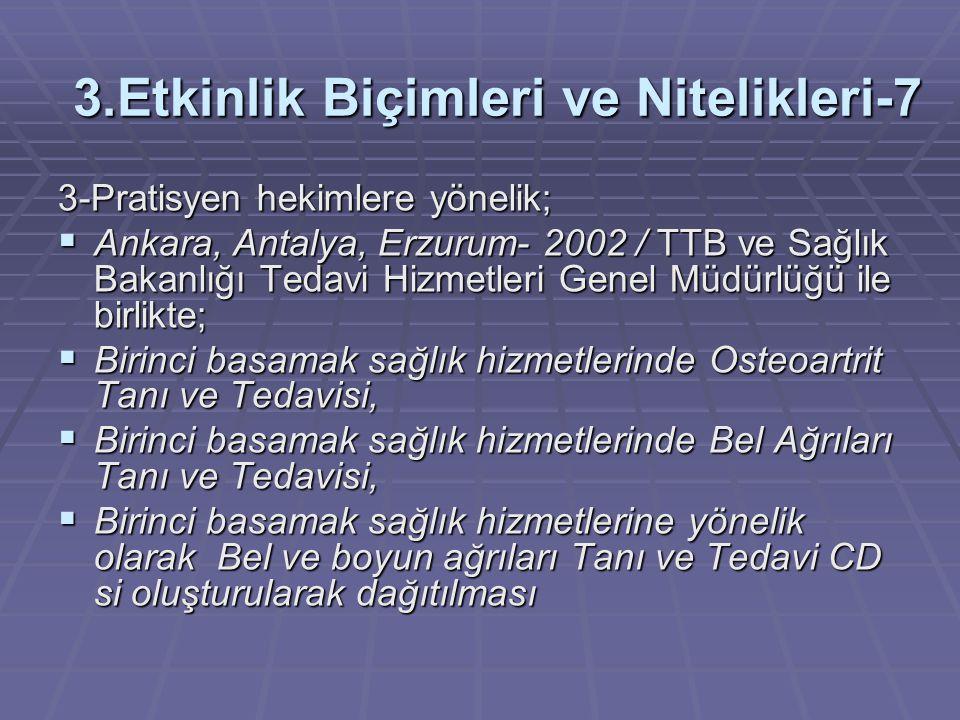 3.Etkinlik Biçimleri ve Nitelikleri-7 3-Pratisyen hekimlere yönelik;  Ankara, Antalya, Erzurum- 2002 / TTB ve Sağlık Bakanlığı Tedavi Hizmetleri Gene