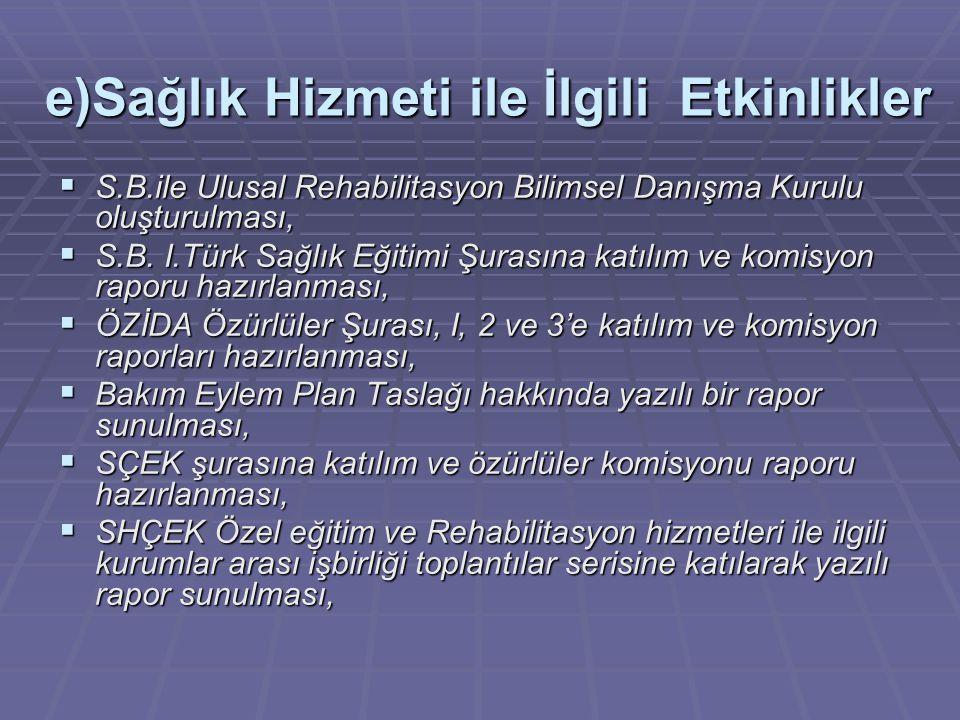 e)Sağlık Hizmeti ile İlgili Etkinlikler  S.B.ile Ulusal Rehabilitasyon Bilimsel Danışma Kurulu oluşturulması,  S.B. I.Türk Sağlık Eğitimi Şurasına k