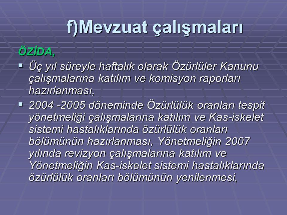 ÖZİDA,  Üç yıl süreyle haftalık olarak Özürlüler Kanunu çalışmalarına katılım ve komisyon raporları hazırlanması,  2004 -2005 döneminde Özürlülük or