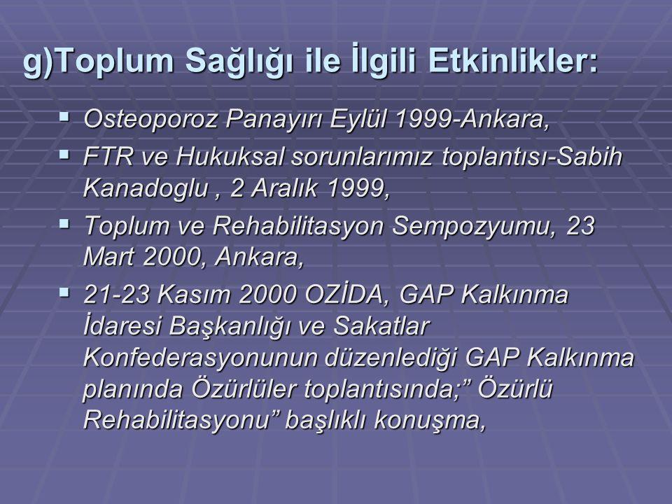  Osteoporoz Panayırı Eylül 1999-Ankara,  FTR ve Hukuksal sorunlarımız toplantısı-Sabih Kanadoglu, 2 Aralık 1999,  Toplum ve Rehabilitasyon Sempozyumu, 23 Mart 2000, Ankara,  21-23 Kasım 2000 OZİDA, GAP Kalkınma İdaresi Başkanlığı ve Sakatlar Konfederasyonunun düzenlediği GAP Kalkınma planında Özürlüler toplantısında; Özürlü Rehabilitasyonu başlıklı konuşma, g)Toplum Sağlığı ile İlgili Etkinlikler: