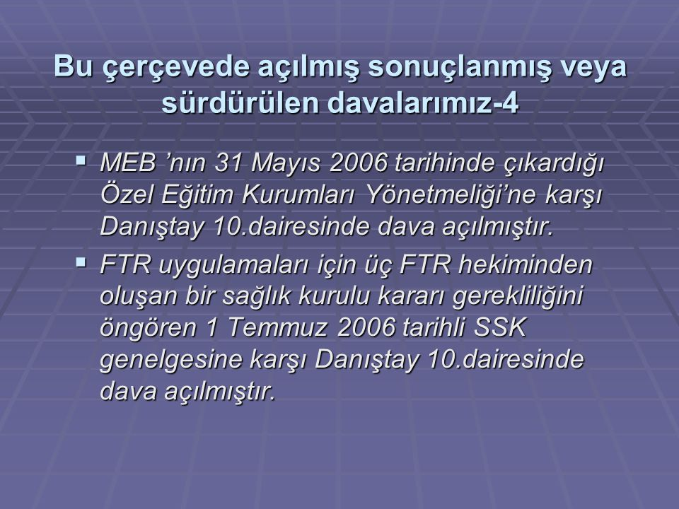 Bu çerçevede açılmış sonuçlanmış veya sürdürülen davalarımız-4  MEB 'nın 31 Mayıs 2006 tarihinde çıkardığı Özel Eğitim Kurumları Yönetmeliği'ne karşı Danıştay 10.dairesinde dava açılmıştır.