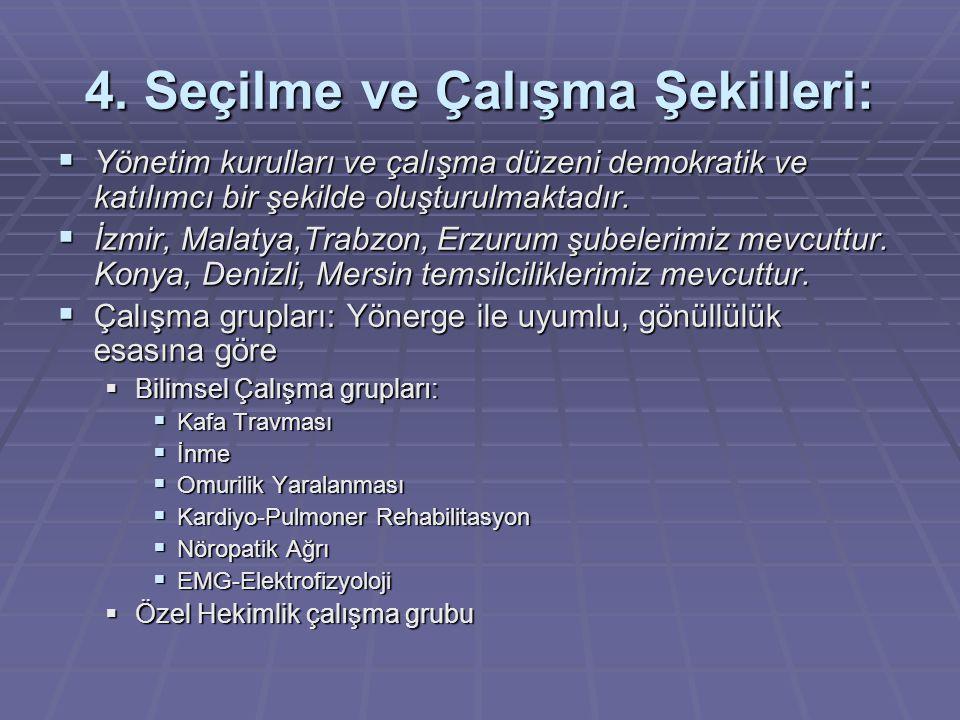 4. Seçilme ve Çalışma Şekilleri:  Yönetim kurulları ve çalışma düzeni demokratik ve katılımcı bir şekilde oluşturulmaktadır.  İzmir, Malatya,Trabzon