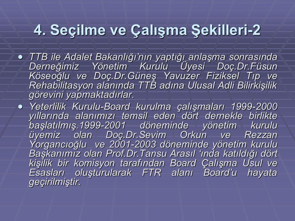 4. Seçilme ve Çalışma Şekilleri-2  TTB ile Adalet Bakanlığı'nın yaptığı anlaşma sonrasında Derneğimiz Yönetim Kurulu Üyesi Doç.Dr.Füsun Köseoğlu ve D