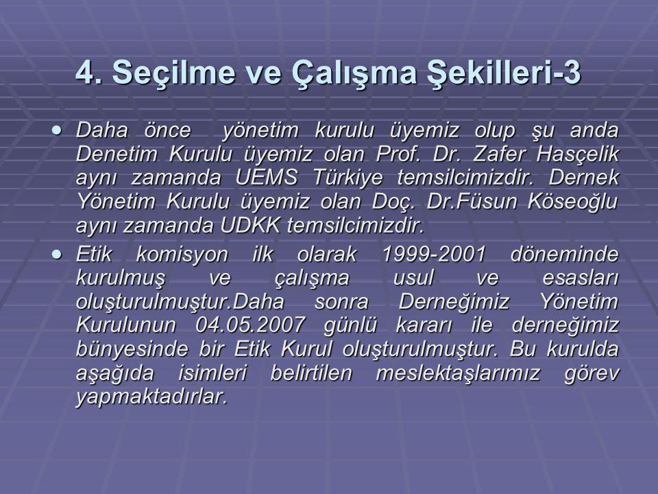 4. Seçilme ve Çalışma Şekilleri-3  Daha önce yönetim kurulu üyemiz olup şu anda Denetim Kurulu üyemiz olan Prof. Dr. Zafer Hasçelik aynı zamanda UEMS