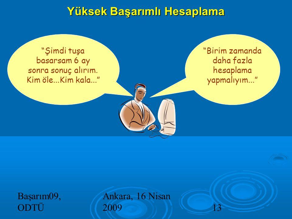 Başarım09, ODTÜ Ankara, 16 Nisan 200913 Yüksek Başarımlı Hesaplama Şimdi tuşa basarsam 6 ay sonra sonuç alırım.