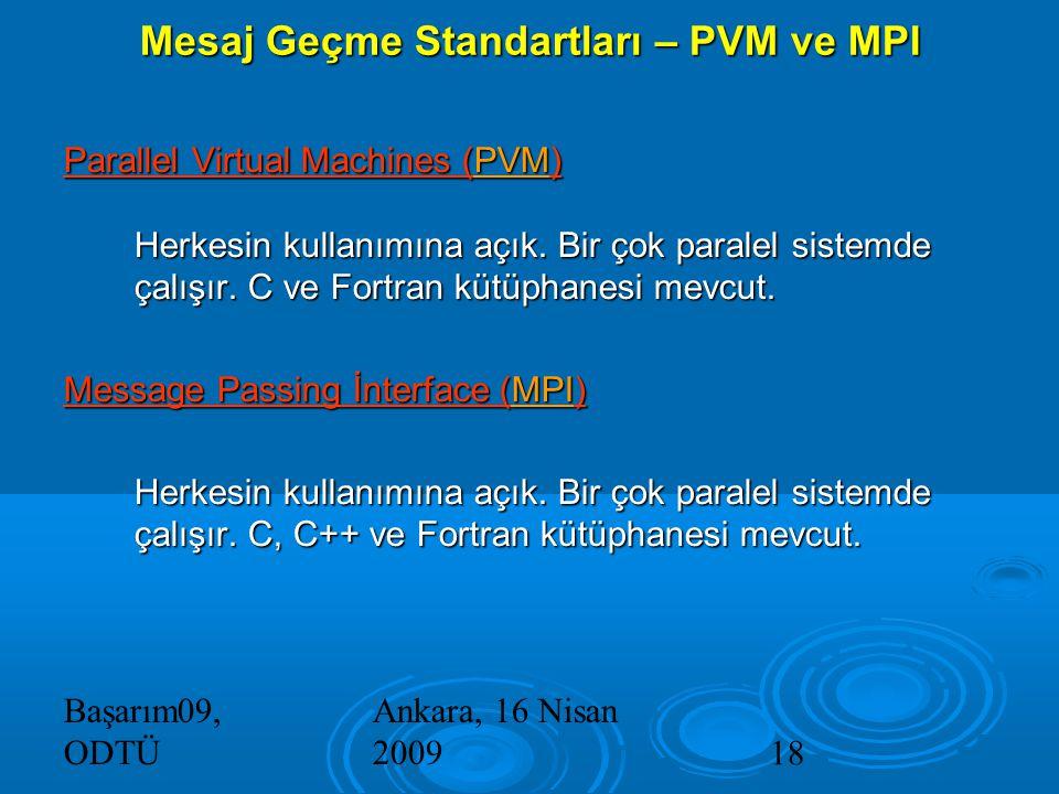 Başarım09, ODTÜ Ankara, 16 Nisan 200918 Mesaj Geçme Standartları – PVM ve MPI Parallel Virtual Machines (PVM) Herkesin kullanımına açık.