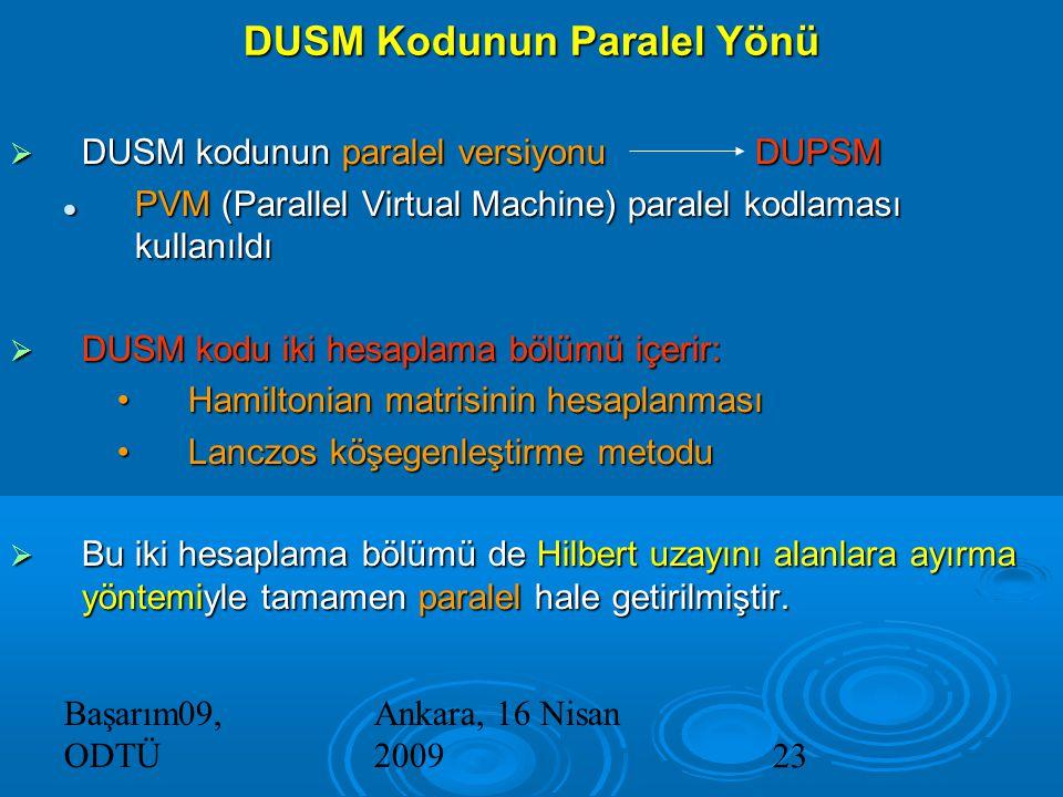 Başarım09, ODTÜ Ankara, 16 Nisan 200923  DUSM kodunun paralel versiyonuDUPSM PVM (Parallel Virtual Machine) paralel kodlaması kullanıldı PVM (Parallel Virtual Machine) paralel kodlaması kullanıldı  DUSM kodu iki hesaplama bölümü içerir: Hamiltonian matrisinin hesaplanmasıHamiltonian matrisinin hesaplanması Lanczos köşegenleştirme metoduLanczos köşegenleştirme metodu  Bu iki hesaplama bölümü de Hilbert uzayını alanlara ayırma yöntemiyle tamamen paralel hale getirilmiştir.