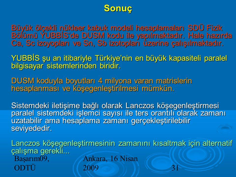 Başarım09, ODTÜ Ankara, 16 Nisan 200931 Büyük ölçekli nükleer kabuk modeli hesaplamaları SDÜ Fizik Bölümü YUBBİS'de DUSM kodu ile yapılmaktadır.