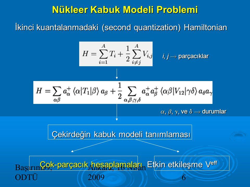 Başarım09, ODTÜ Ankara, 16 Nisan 20096 İkinci kuantalanmadaki (second quantization) Hamiltonian i, j  parçacıklar i, j  parçacıklar , , , ve   durumlar , , , ve   durumlar Çekirdeğin kabuk modeli tanımlaması Çekirdeğin kabuk modeli tanımlaması Çok-parçacık hesaplamaları Etkin etkileşme V eff Nükleer Kabuk Modeli Problemi