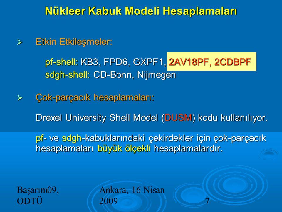 Başarım09, ODTÜ Ankara, 16 Nisan 20097  Etkin Etkileşmeler: pf-shell: KB3, FPD6, GXPF1, 2AV18PF, 2CDBPF sdgh-shell: CD-Bonn, Nijmegen  Çok-parçacık hesaplamaları: Drexel University Shell Model (DUSM) kodu kullanılıyor.