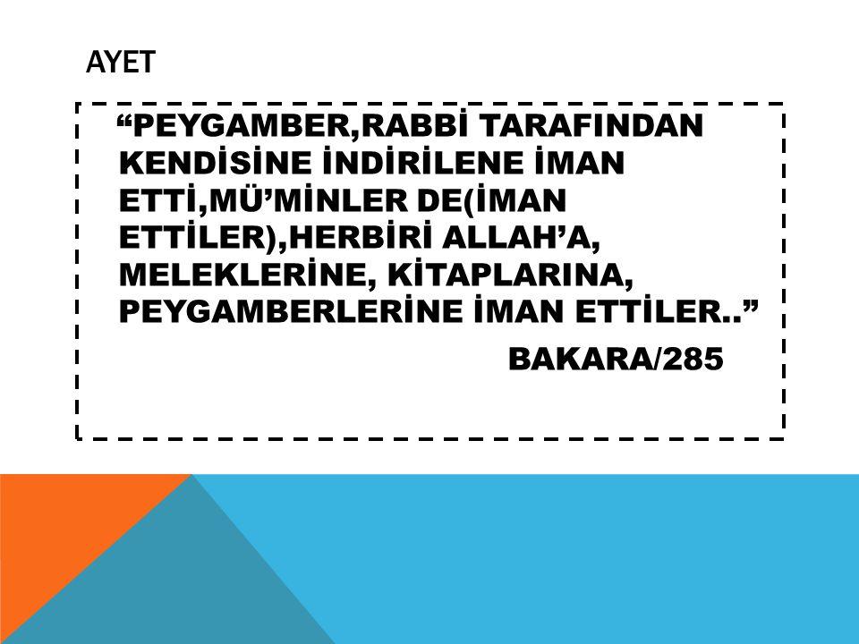 """AYET """"PEYGAMBER,RABBİ TARAFINDAN KENDİSİNE İNDİRİLENE İMAN ETTİ,MÜ'MİNLER DE(İMAN ETTİLER),HERBİRİ ALLAH'A, MELEKLERİNE, KİTAPLARINA, PEYGAMBERLERİNE"""