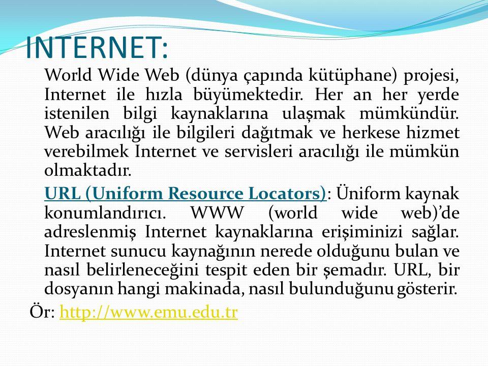 INTERNET: World Wide Web (dünya çapında kütüphane) projesi, Internet ile hızla büyümektedir. Her an her yerde istenilen bilgi kaynaklarına ulaşmak müm