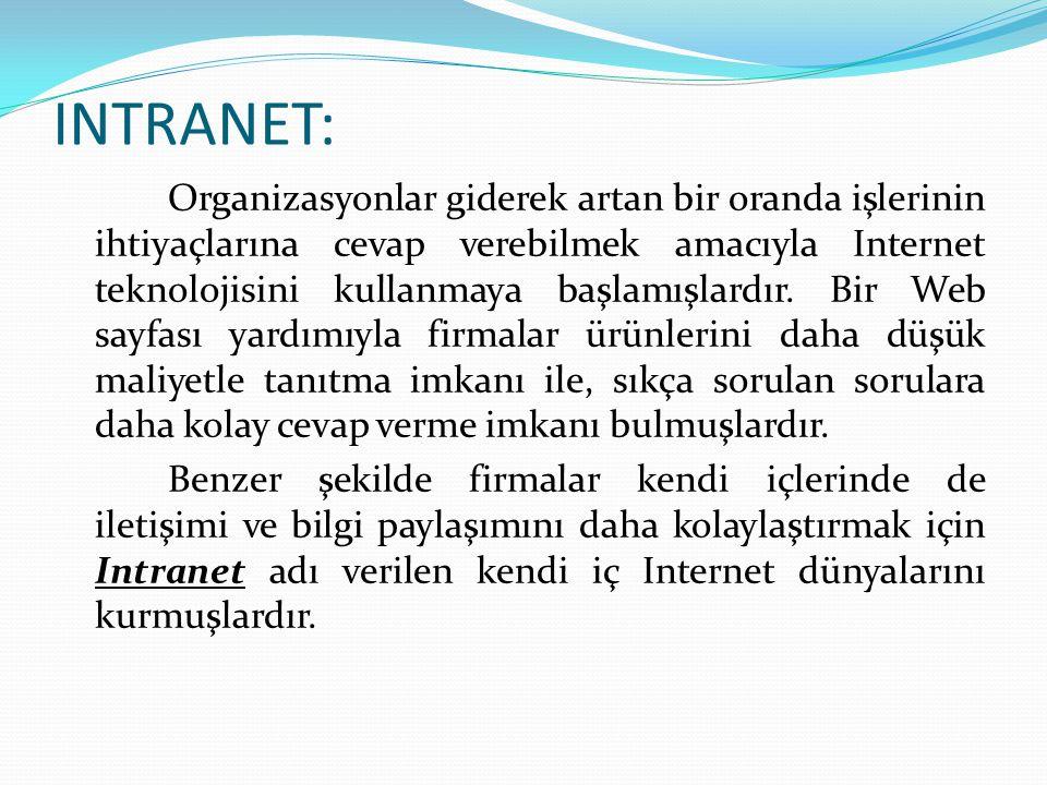INTRANET: Organizasyonlar giderek artan bir oranda işlerinin ihtiyaçlarına cevap verebilmek amacıyla Internet teknolojisini kullanmaya başlamışlardır.