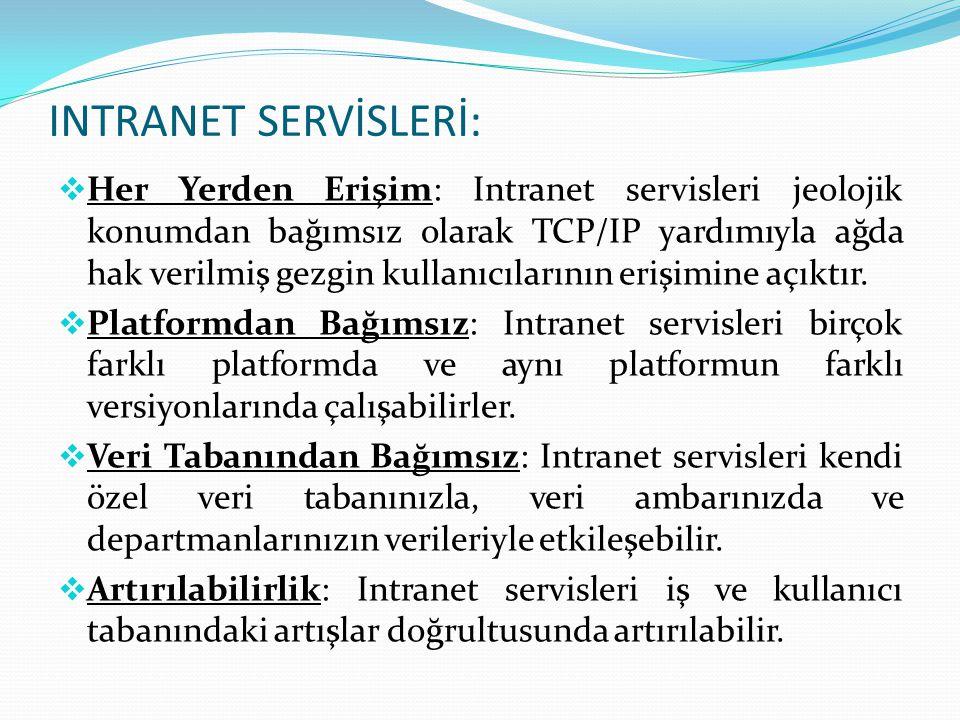  Her Yerden Erişim: Intranet servisleri jeolojik konumdan bağımsız olarak TCP/IP yardımıyla ağda hak verilmiş gezgin kullanıcılarının erişimine açıkt