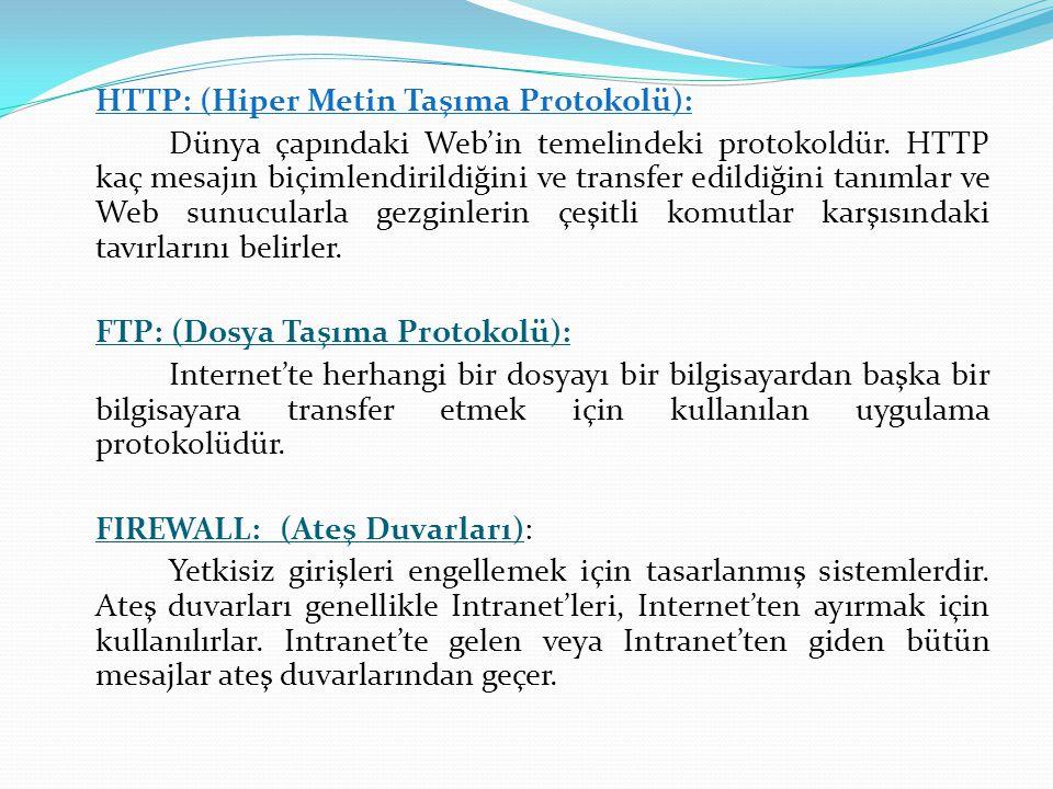 HTTP: (Hiper Metin Taşıma Protokolü): Dünya çapındaki Web'in temelindeki protokoldür. HTTP kaç mesajın biçimlendirildiğini ve transfer edildiğini tanı