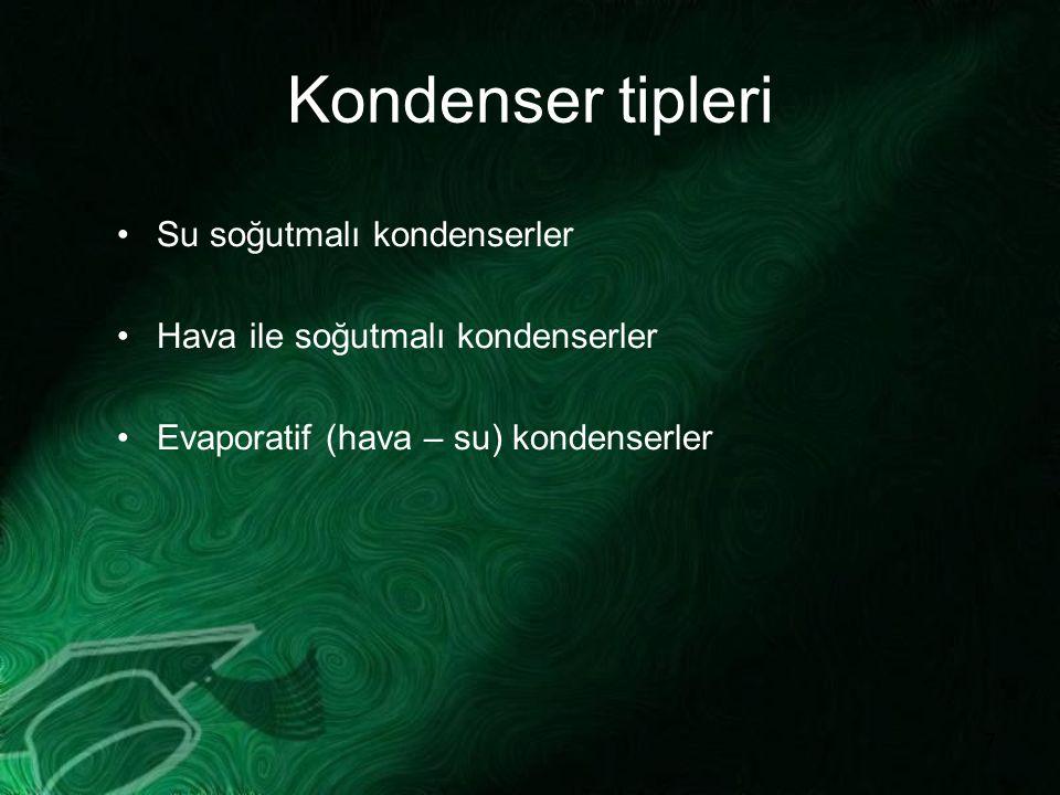 7 Kondenser tipleri Su soğutmalı kondenserler Hava ile soğutmalı kondenserler Evaporatif (hava – su) kondenserler