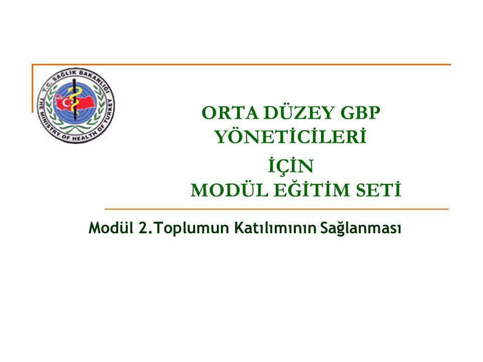 Modül 2.Toplumun Katılımının Sağlanması ORTA DÜZEY GBP YÖNETİCİLERİ İÇİN MODÜL EĞİTİM SETİ