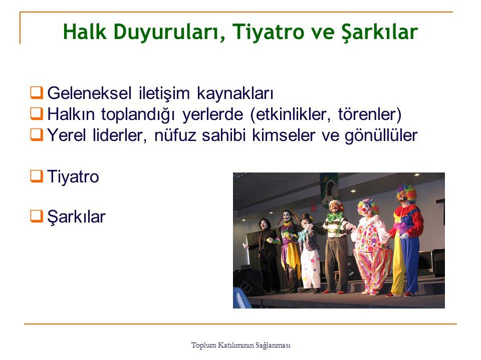 Toplum Katılımının Sağlanması 58 Halk Duyuruları, Tiyatro ve Şarkılar  Geleneksel iletişim kaynakları  Halkın toplandığı yerlerde (etkinlikler, töre