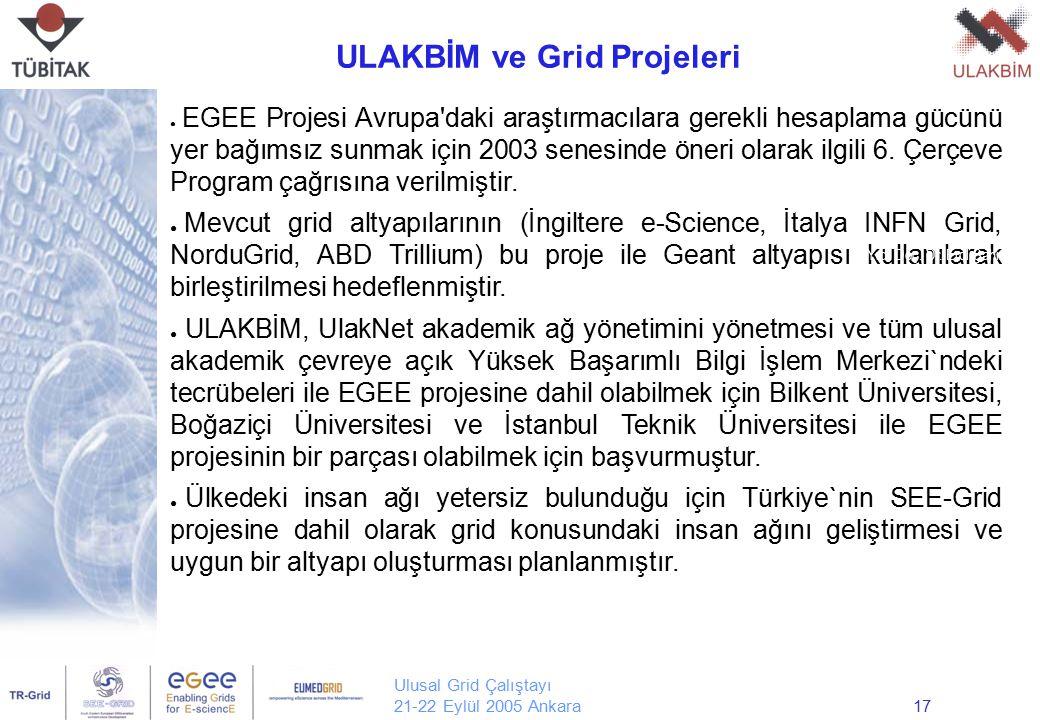 Ulusal Grid Çalıştayı 21-22 Eylül 2005 Ankara17 ● EGEE Projesi Avrupa'daki araştırmacılara gerekli hesaplama gücünü yer bağımsız sunmak için 2003 sene
