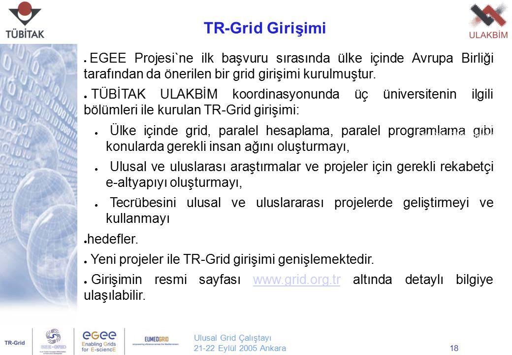 Ulusal Grid Çalıştayı 21-22 Eylül 2005 Ankara18 ● EGEE Projesi`ne ilk başvuru sırasında ülke içinde Avrupa Birliği tarafından da önerilen bir grid gir