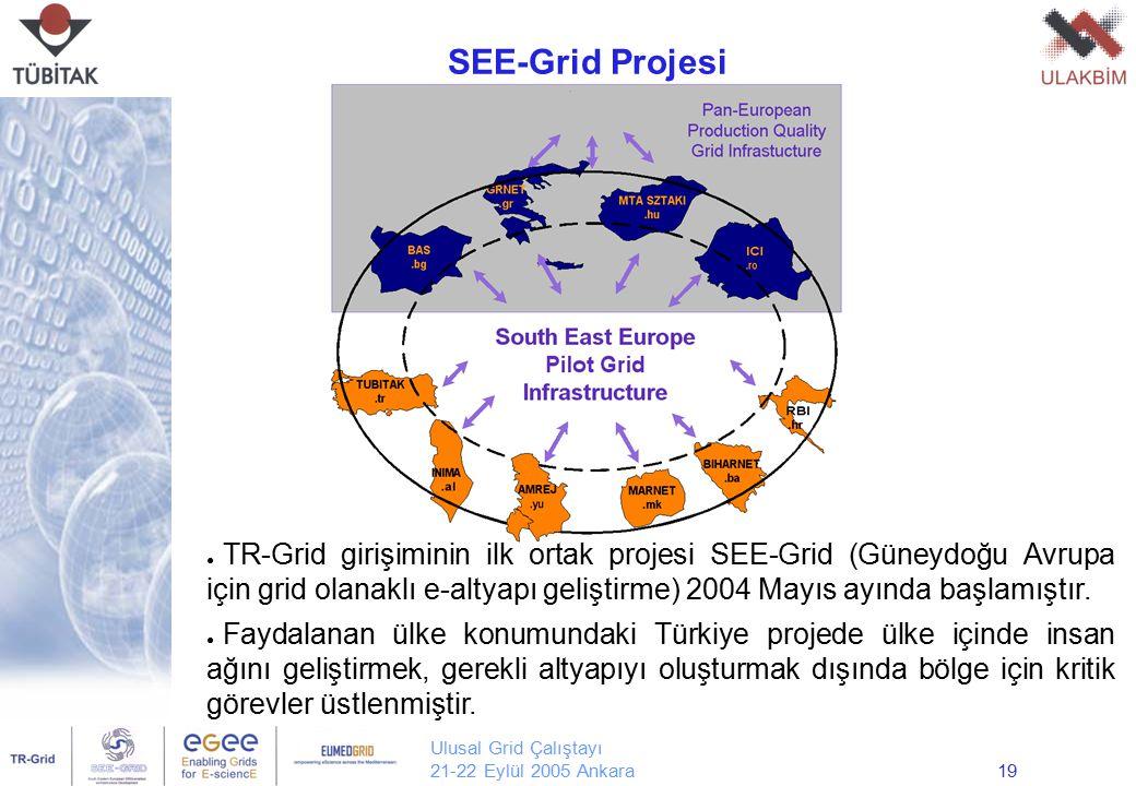 Ulusal Grid Çalıştayı 21-22 Eylül 2005 Ankara19 ● TR-Grid girişiminin ilk ortak projesi SEE-Grid (Güneydoğu Avrupa için grid olanaklı e-altyapı gelişt