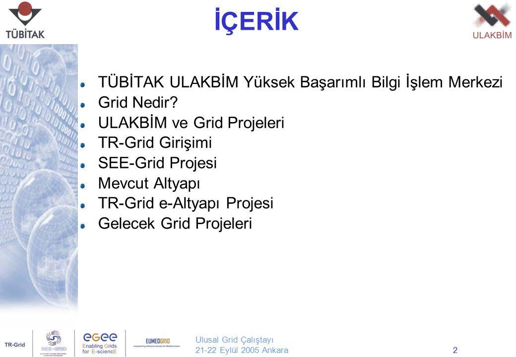 Ulusal Grid Çalıştayı 21-22 Eylül 2005 Ankara2 İÇERİK TÜBİTAK ULAKBİM Yüksek Başarımlı Bilgi İşlem Merkezi Grid Nedir? ULAKBİM ve Grid Projeleri TR-Gr
