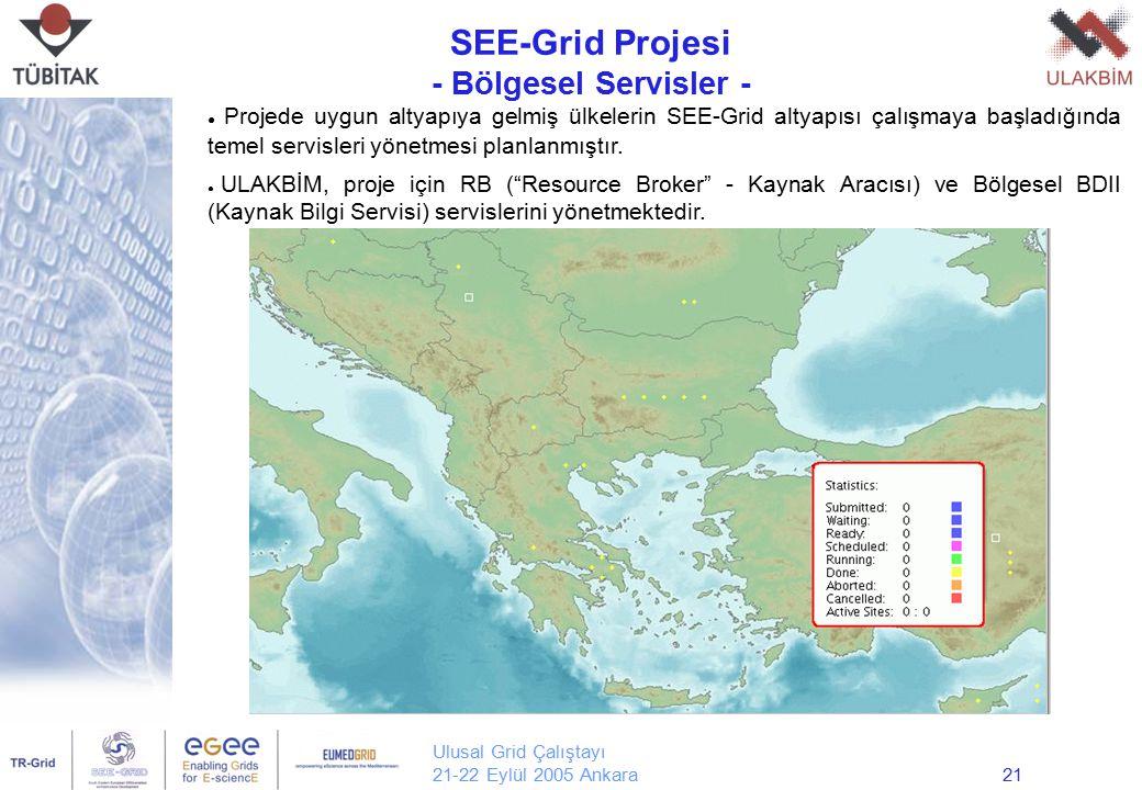 Ulusal Grid Çalıştayı 21-22 Eylül 2005 Ankara21 SEE-Grid Projesi - Bölgesel Servisler - Yrd. Doç. Dr. Erol Şahin Orta Doğu Teknik Üniversitesi Bilgisa