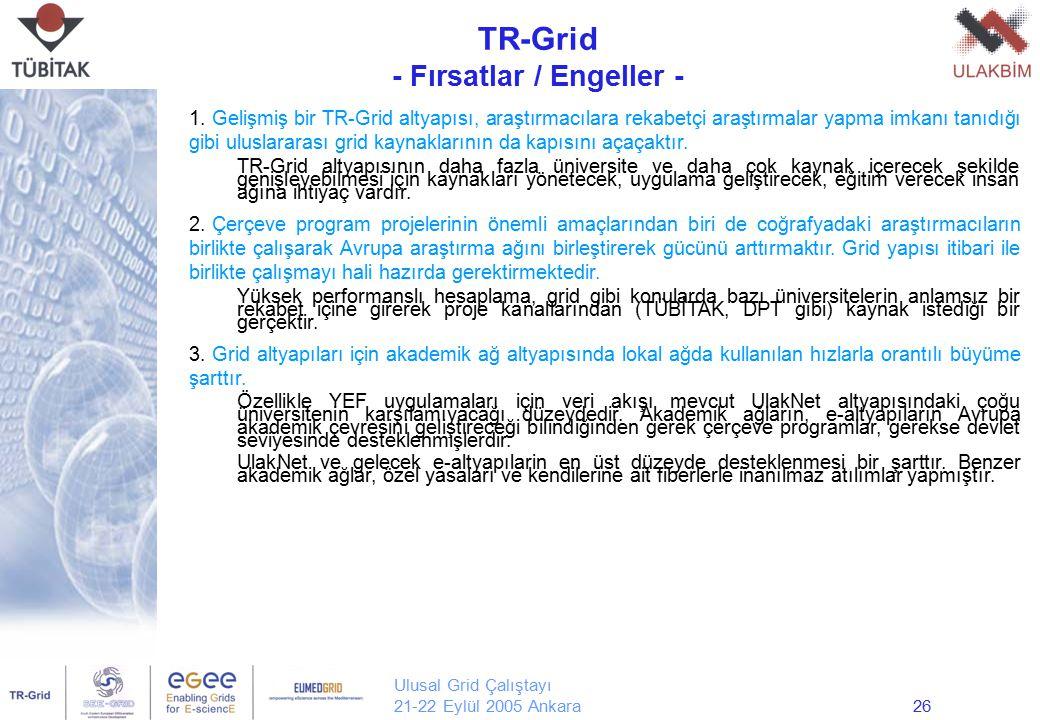 Ulusal Grid Çalıştayı 21-22 Eylül 2005 Ankara26 TR-Grid - Fırsatlar / Engeller - Yrd. Doç. Dr. Erol Şahin Orta Doğu Teknik Üniversitesi Bilgisayar Müh