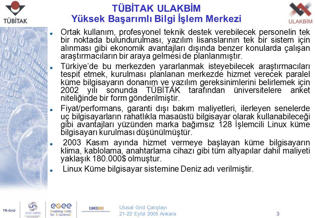 Ulusal Grid Çalıştayı 21-22 Eylül 2005 Ankara3 TÜBİTAK ULAKBİM Yüksek Başarımlı Bilgi İşlem Merkezi Ortak kullanım, profesyonel teknik destek verebile