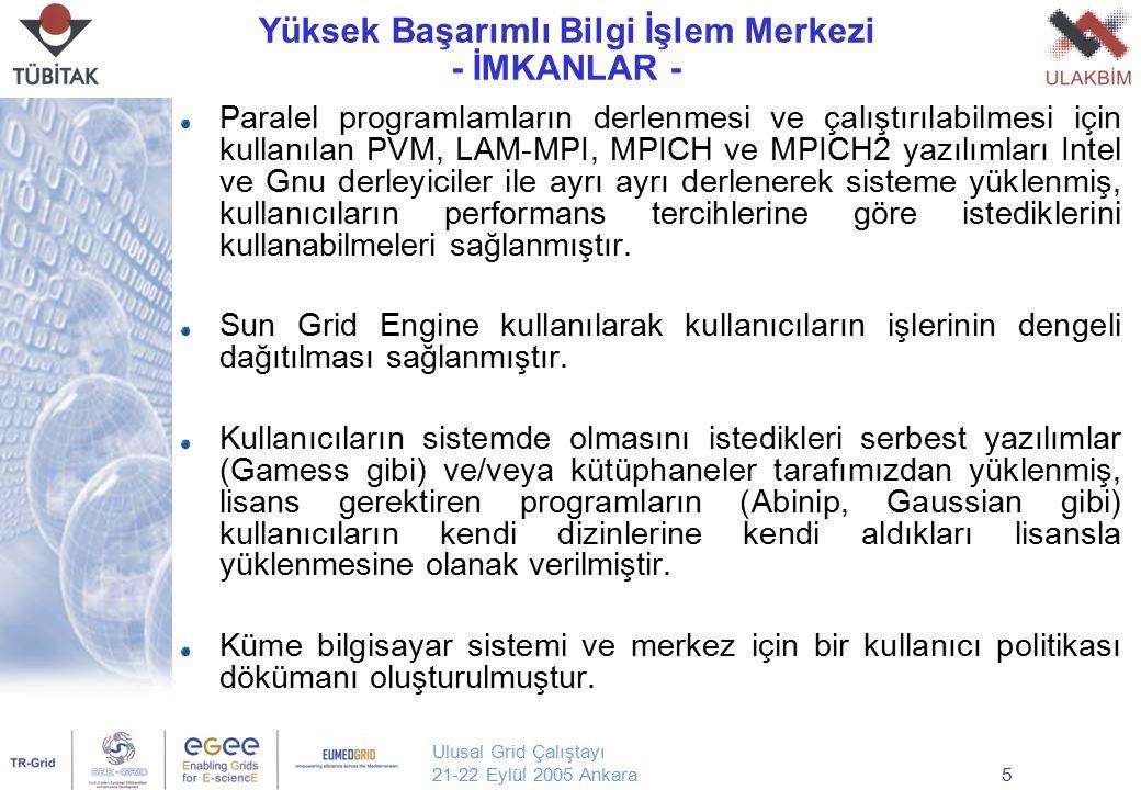 Ulusal Grid Çalıştayı 21-22 Eylül 2005 Ankara5 Yüksek Başarımlı Bilgi İşlem Merkezi - İMKANLAR - Paralel programlamların derlenmesi ve çalıştırılabilm