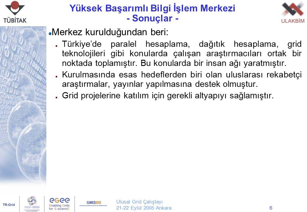 Ulusal Grid Çalıştayı 21-22 Eylül 2005 Ankara6 Yüksek Başarımlı Bilgi İşlem Merkezi - Sonuçlar - Merkez kurulduğundan beri: Türkiye'de paralel hesapla