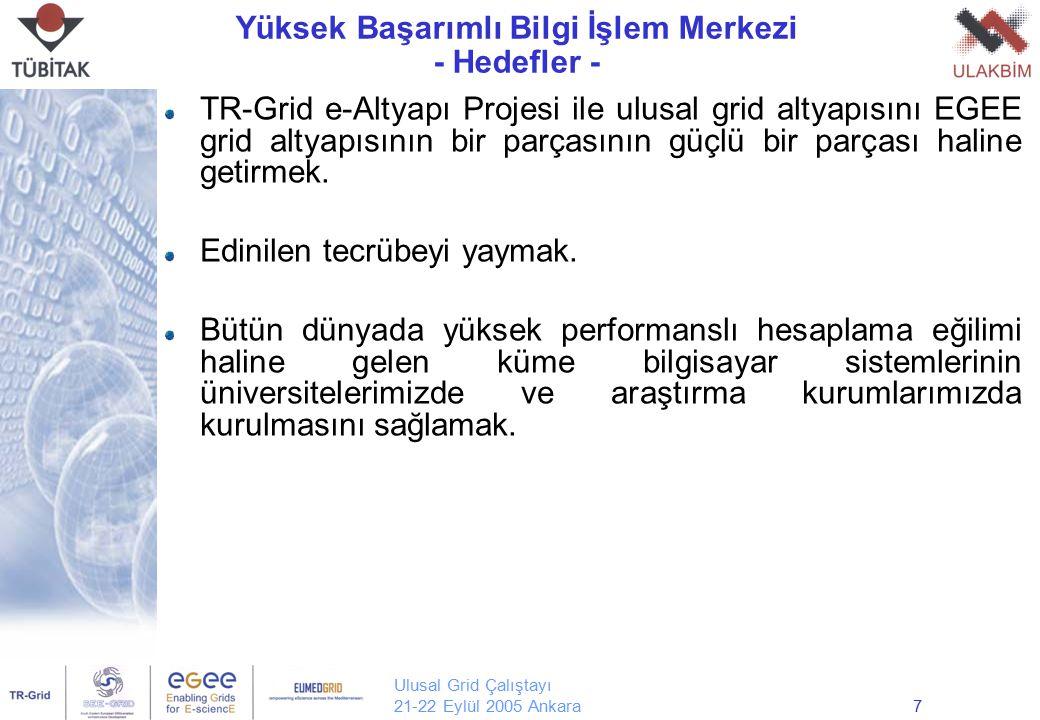 Ulusal Grid Çalıştayı 21-22 Eylül 2005 Ankara7 Yüksek Başarımlı Bilgi İşlem Merkezi - Hedefler - TR-Grid e-Altyapı Projesi ile ulusal grid altyapısını