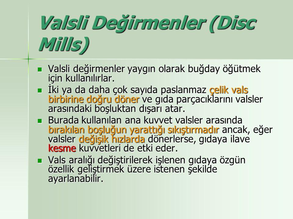 Valsli Değirmenler (Disc Mills) Valsli değirmenler yaygın olarak buğday öğütmek için kullanılırlar. Valsli değirmenler yaygın olarak buğday öğütmek iç