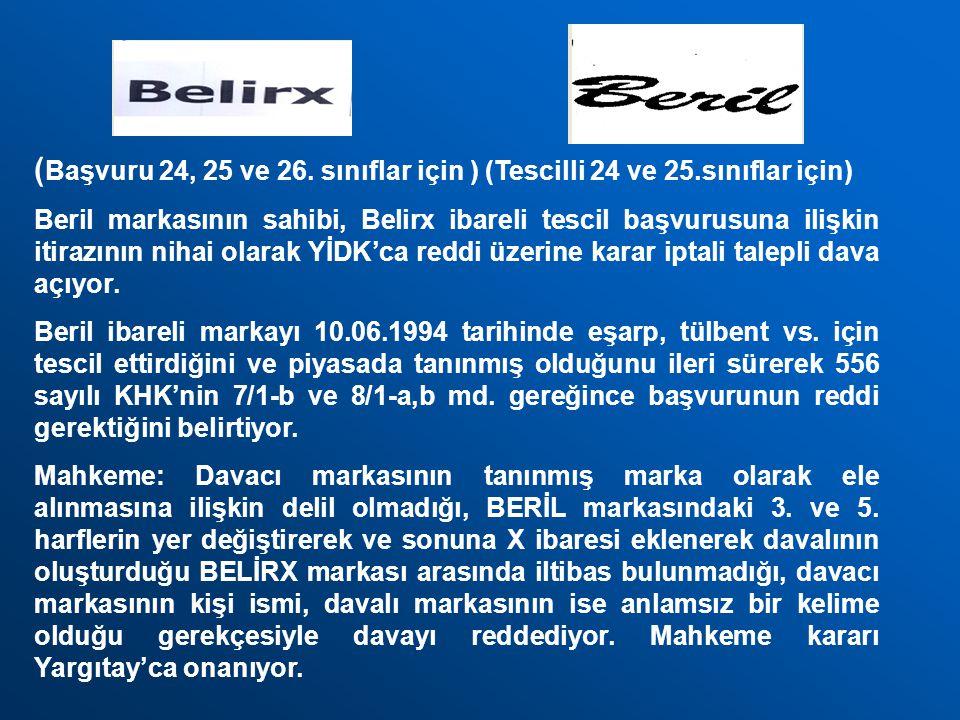 ( Başvuru 24, 25 ve 26. sınıflar için ) (Tescilli 24 ve 25.sınıflar için) Beril markasının sahibi, Belirx ibareli tescil başvurusuna ilişkin itirazını