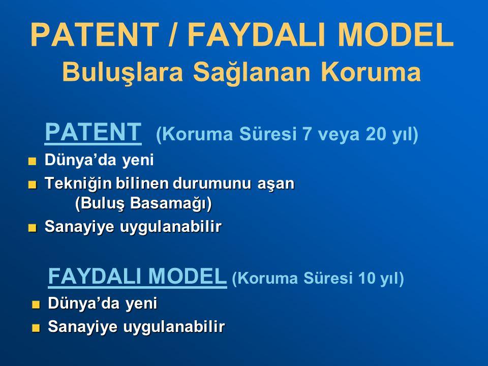 PATENT / FAYDALI MODEL PATENT (Koruma Süresi 7 veya 20 yıl) Dünya'da yeni Tekniğin bilinen durumunu aşan (Buluş Basamağı) Sanayiye uygulanabilir FAYDA