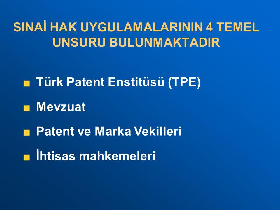 SINAİ HAK UYGULAMALARININ 4 TEMEL UNSURU BULUNMAKTADIR Türk Patent Enstitüsü (TPE) Mevzuat Patent ve Marka Vekilleri İhtisas mahkemeleri