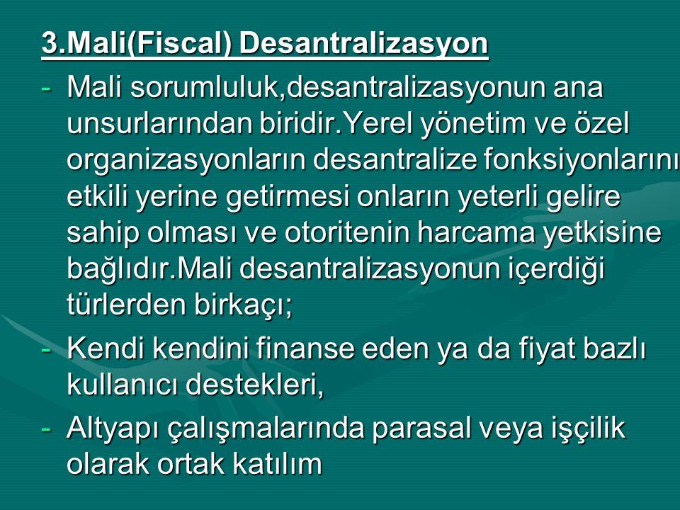 3.Mali(Fiscal) Desantralizasyon -Mali sorumluluk,desantralizasyonun ana unsurlarından biridir.Yerel yönetim ve özel organizasyonların desantralize fon